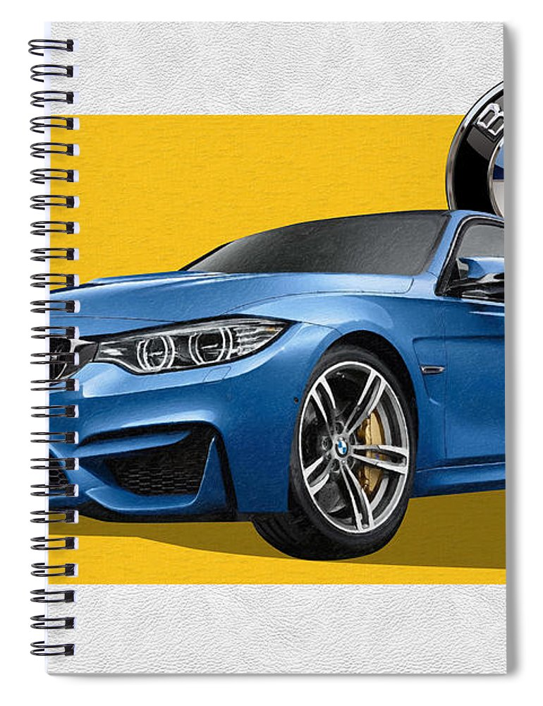 �bmw� Collection By Serge Averbukh Spiral Notebook featuring the photograph 2016 B M W M 3 Sedan with 3 D Badge by Serge Averbukh