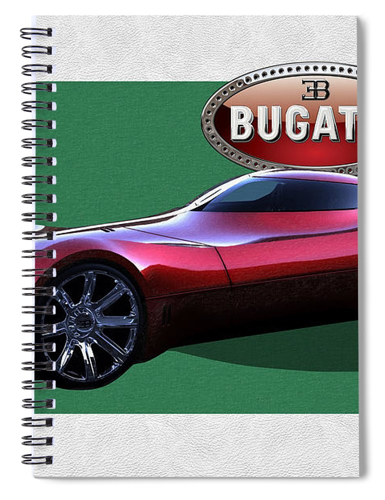 �bugatti� By Serge Averbukh Spiral Notebook featuring the photograph 2025 Bugatti Aerolithe Concept with 3 D Badge by Serge Averbukh