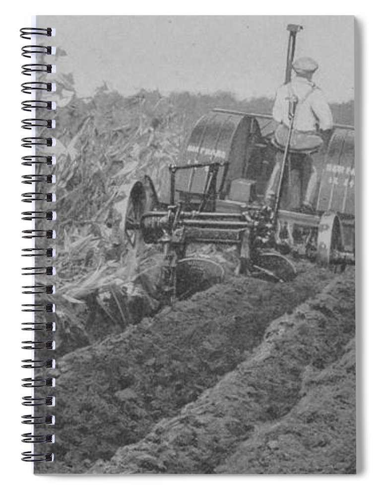 Farm Spiral Notebook featuring the photograph A Farmer Driving A Tractor by American School