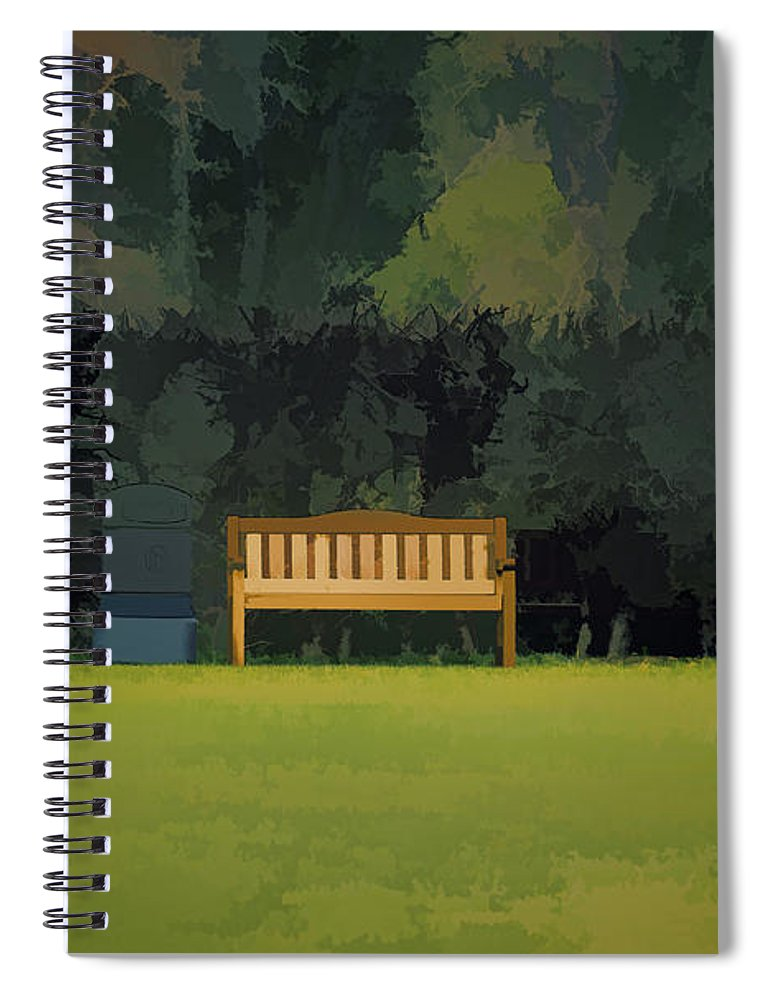 Bench Spiral Notebook featuring the photograph A Trash Can And Wooden Benches In A Small Grassy Area by Ashish Agarwal