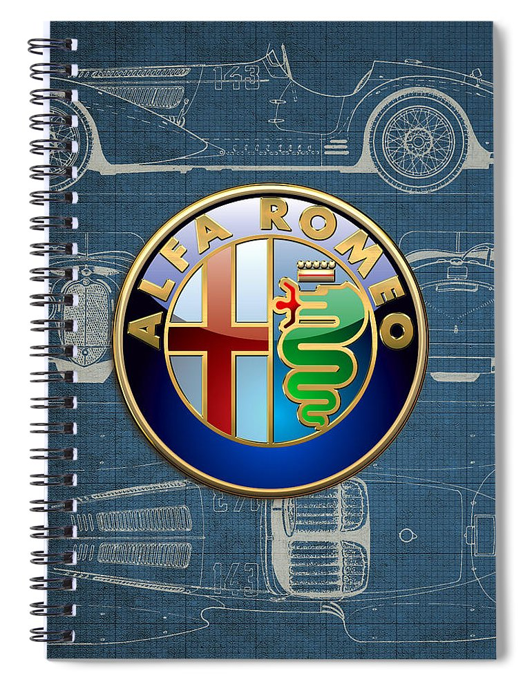 �wheels Of Fortune� By Serge Averbukh Spiral Notebook featuring the photograph Alfa Romeo 3 D Badge over 1938 Alfa Romeo 8 C 2900 B Vintage Blueprint by Serge Averbukh