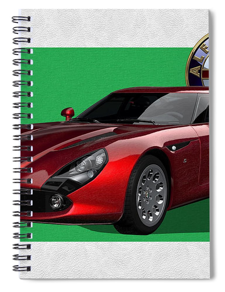 �alfa Romeo� By Serge Averbukh Spiral Notebook featuring the photograph Alfa Romeo Zagato T Z 3 Stradale With 3 D Badge by Serge Averbukh