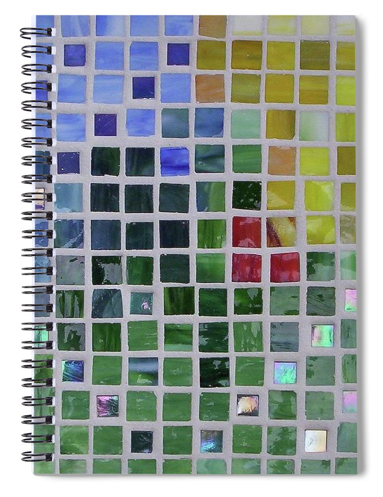 Mosaics Spiral Notebook featuring the glass art Arrival by Suzanne Udell Levinger