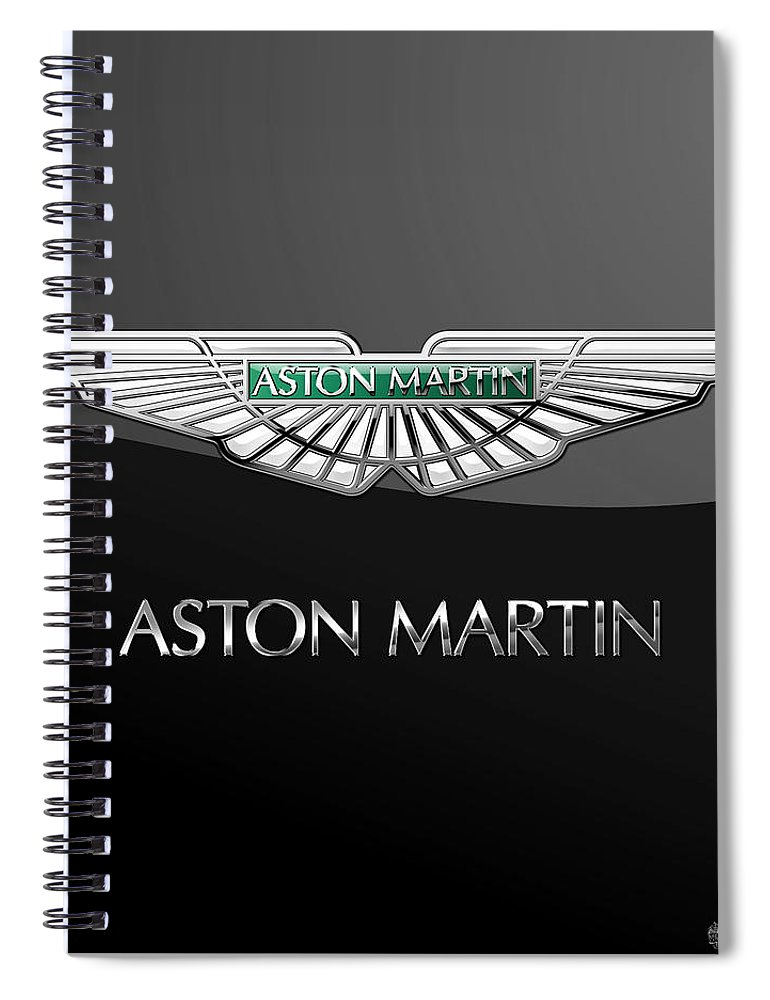 'wheels Of Fortune� Collection By Serge Averbukh Spiral Notebook featuring the photograph Aston Martin 3 D Badge on Black by Serge Averbukh