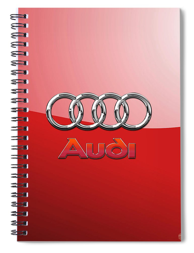 Wheels Of Fortune By Serge Averbukh Spiral Notebook featuring the photograph Audi - 3D Badge on Red by Serge Averbukh