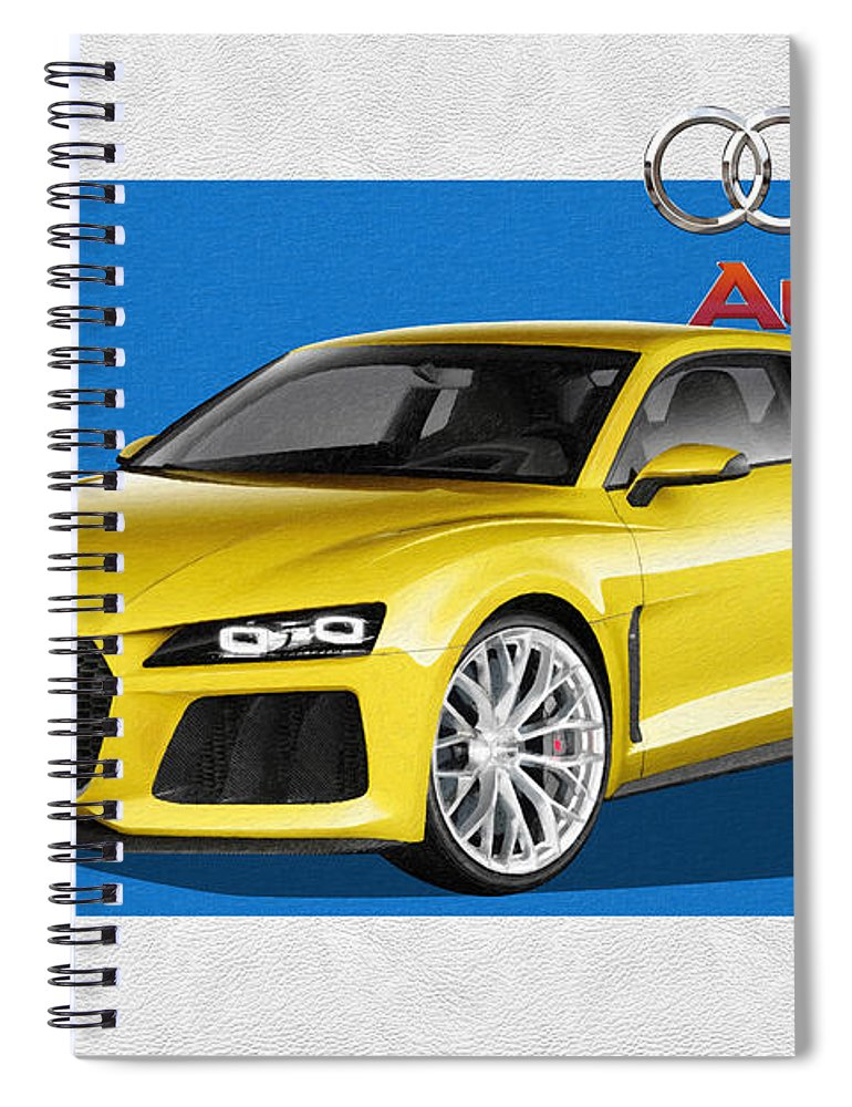 �audi� Collection By Serge Averbukh Spiral Notebook featuring the photograph Audi Sport Quattro Concept with 3 D Badge by Serge Averbukh