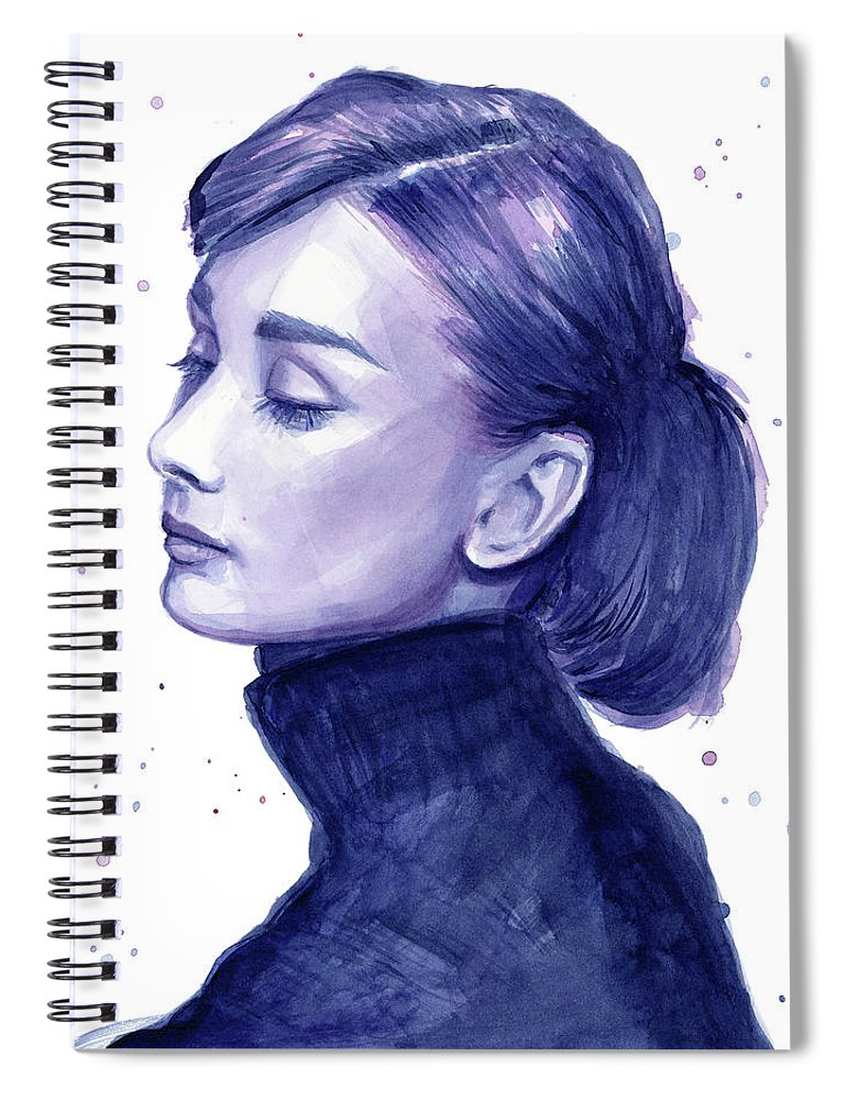 Watercolor Spiral Notebook featuring the painting Audrey Hepburn Portrait by Olga Shvartsur