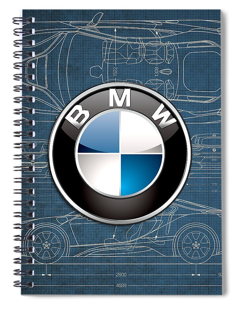 �wheels Of Fortune� By Serge Averbukh Spiral Notebook featuring the photograph B M W 3 D Badge over B M W i8 Blueprint by Serge Averbukh