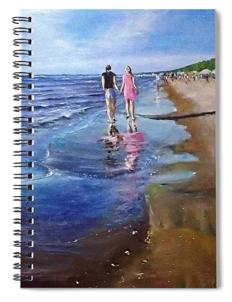 Sea Spiral Notebook featuring the painting Baltic beach by Natalja Picugina