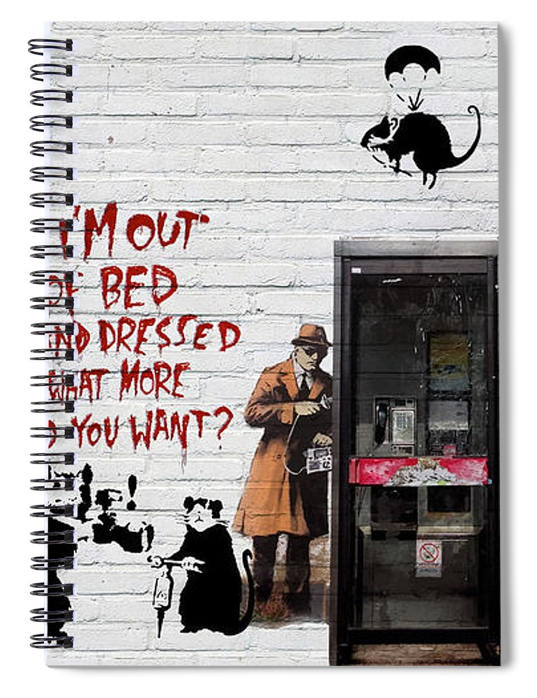 �urban Graffiti� Collection By Serge Averbukh Spiral Notebook featuring the photograph Banksy - The Tribute - Rats by Serge Averbukh
