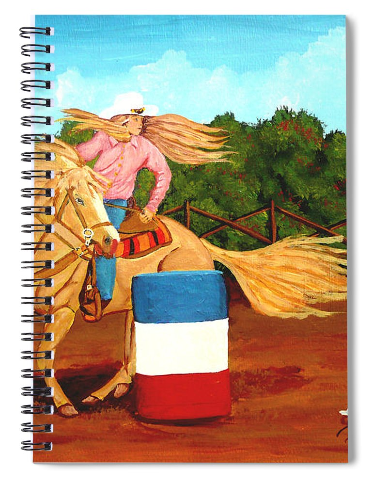 Rodeo Spiral Notebook featuring the painting Barrel Racer by Anthony Dunphy