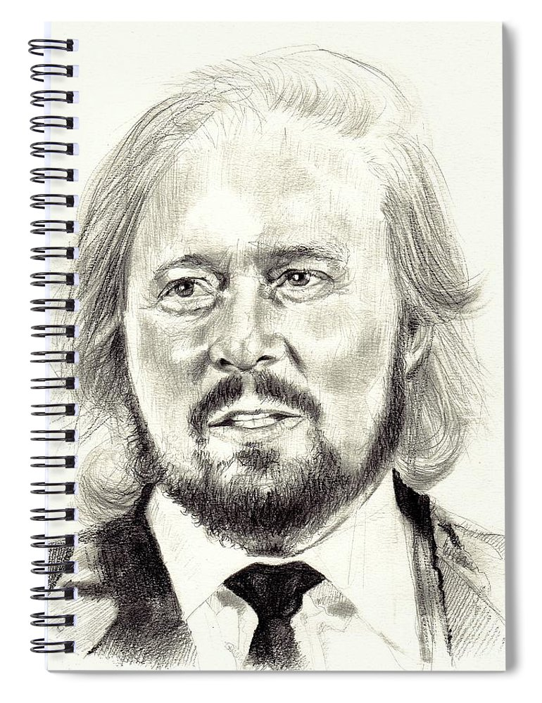 Barry Gibb Spiral Notebook featuring the drawing Barry Gibb Portrait by Suzann Sines