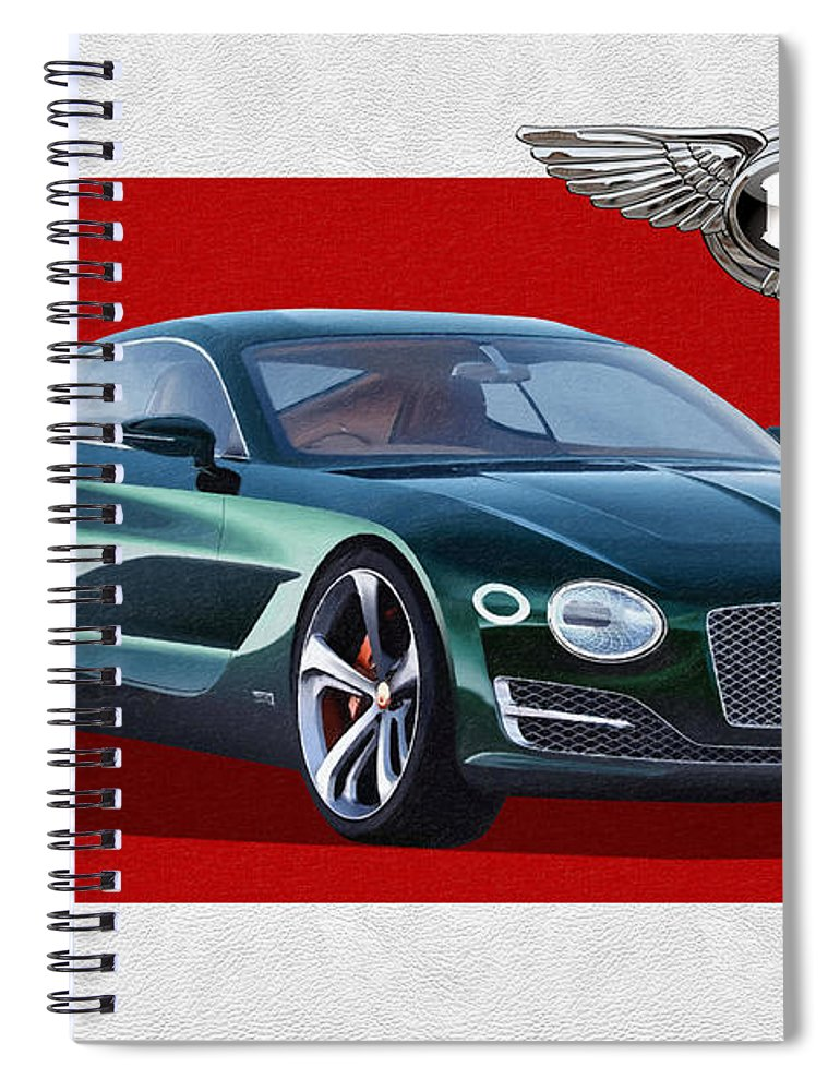 �bentley� Collection By Serge Averbukh Spiral Notebook featuring the photograph Bentley E X P 10 Speed 6 with 3 D Badge by Serge Averbukh