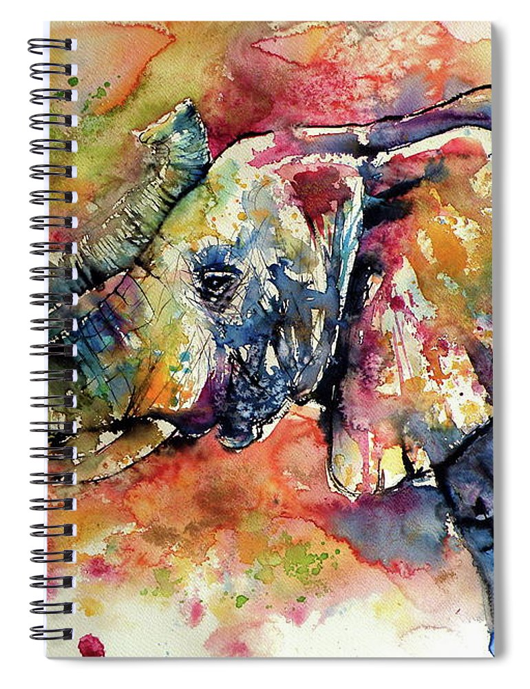 Elephant Spiral Notebook featuring the painting Big colorful elephant by Kovacs Anna Brigitta