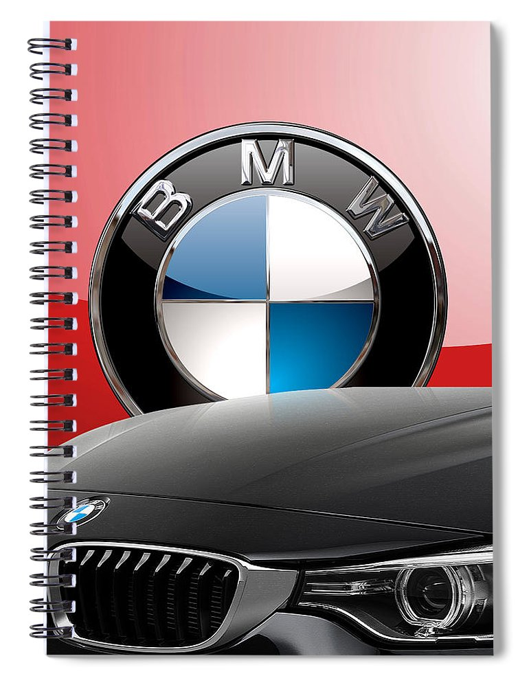 �auto Badges� Collection By Serge Averbukh Spiral Notebook featuring the photograph Black B M W - Front Grill Ornament and 3 D Badge on Red by Serge Averbukh