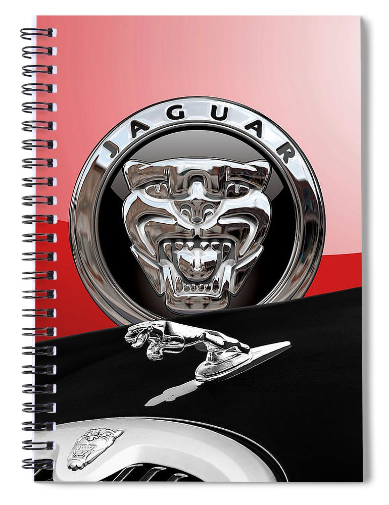 'auto Badges' Collection By Serge Averbukh Spiral Notebook featuring the photograph Black Jaguar - Hood Ornaments And 3 D Badge On Red by Serge Averbukh