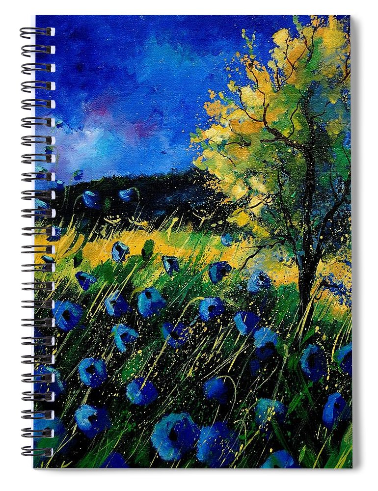 Poppies Spiral Notebook featuring the painting Blue poppies by Pol Ledent