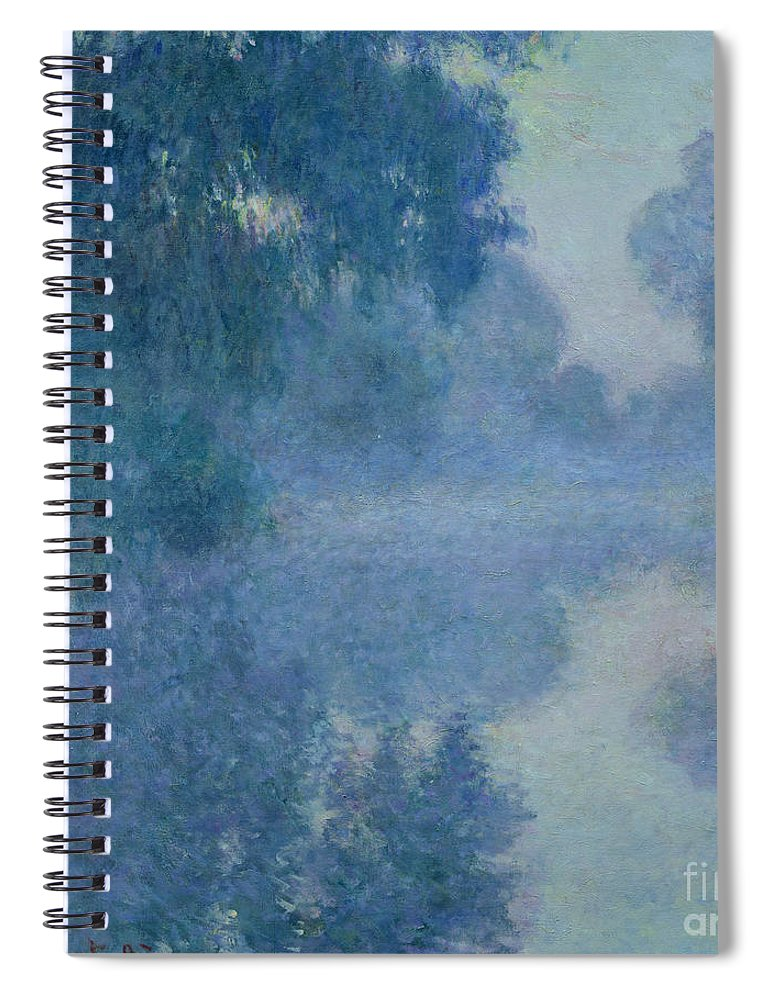 Impressionist; River; Reflection; Fog; Foggy; Misty; Mist; Branch; Seine; Giverny; Claude Monet; Monet; Tree; Trees Spiral Notebook featuring the painting Branch Of The Seine Near Giverny by Claude Monet