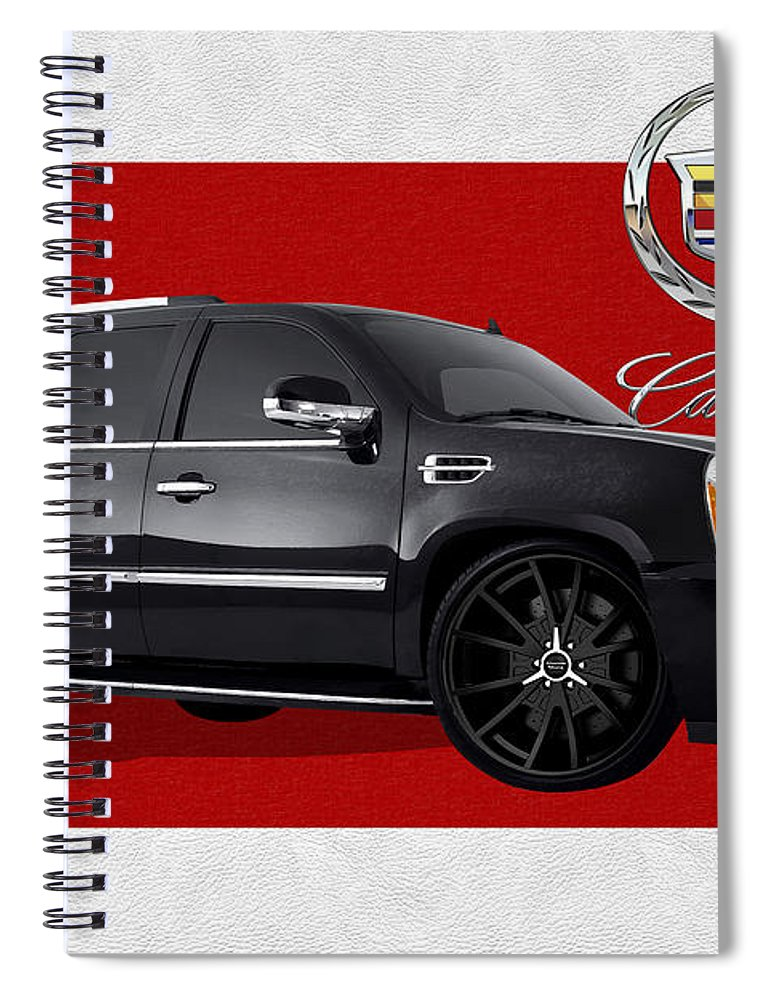 �cadillac� By Serge Averbukh Spiral Notebook featuring the photograph Cadillac Escalade with 3 D Badge by Serge Averbukh