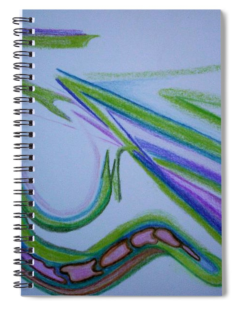 Abstract Spiral Notebook featuring the drawing Canal by Suzanne Udell Levinger