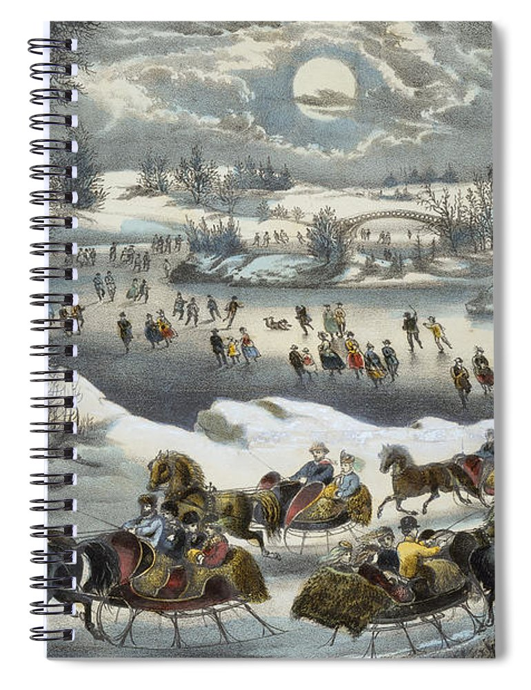 Print Spiral Notebook featuring the painting Central Park In Winter by Currier and Ives
