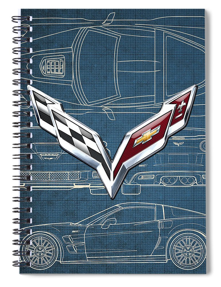 �wheels Of Fortune� By Serge Averbukh Spiral Notebook featuring the photograph Chevrolet Corvette 3 D Badge Over Corvette C 6 Z R 1 Blueprint by Serge Averbukh