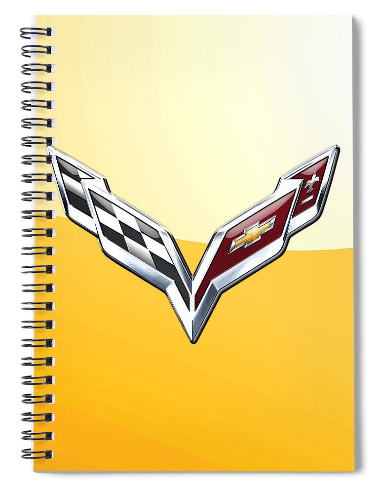�wheels Of Fortune� Collection By Serge Averbukh Spiral Notebook featuring the photograph Chevrolet Corvette 3D Badge on Yellow by Serge Averbukh