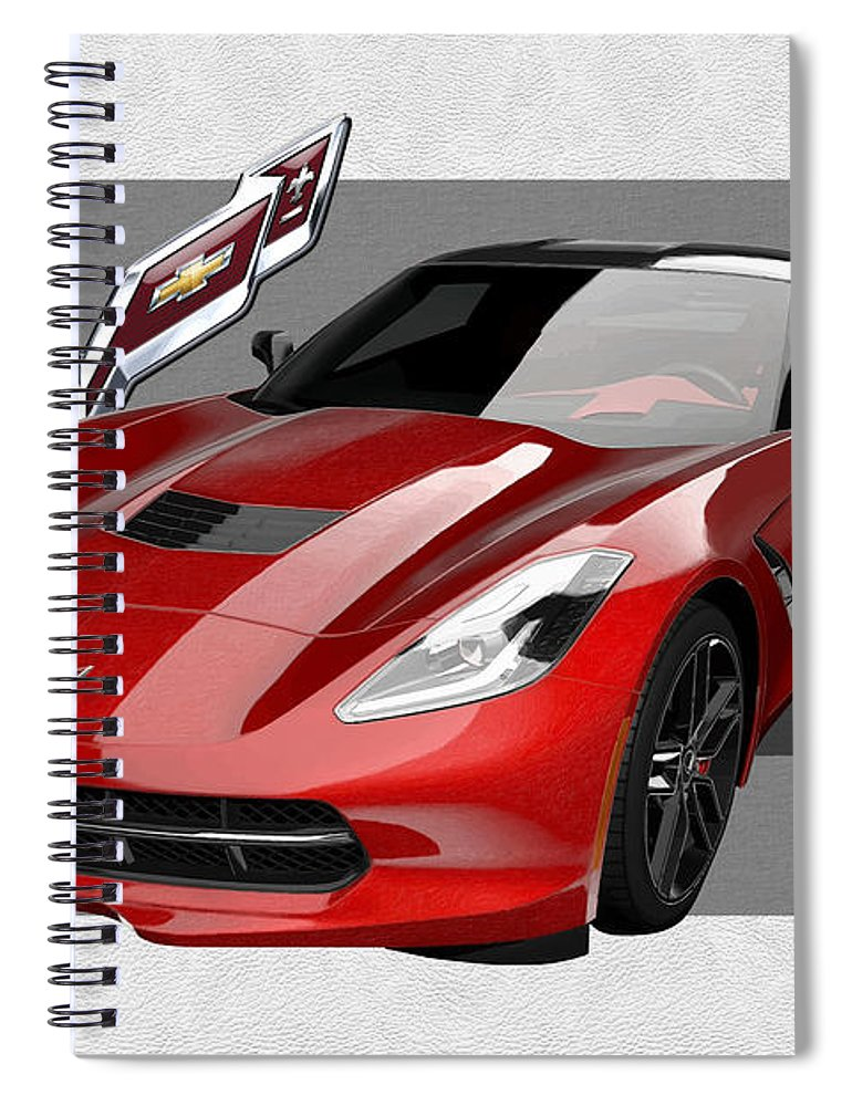 �chevrolet Corvette� By Serge Averbukh Spiral Notebook featuring the photograph Chevrolet Corvette C 7 Stingray with 3 D Badge by Serge Averbukh