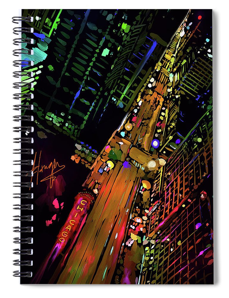 Chicago Spiral Notebook featuring the painting Chicago by DC Langer