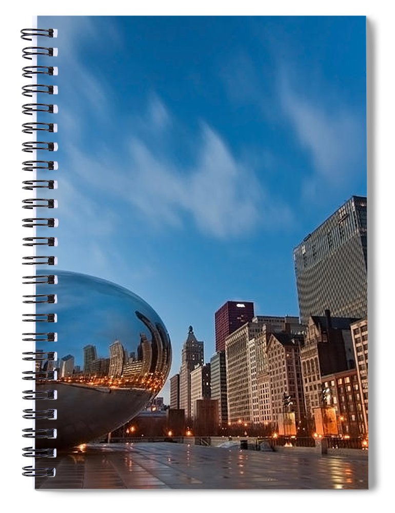 Chicago Skyline Spiral Notebook featuring the photograph Chicago Skyline And Bean At Sunrise by Sven Brogren