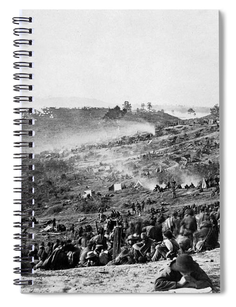 1864 Spiral Notebook featuring the photograph Civil War: Prisoners, 1864 by Granger