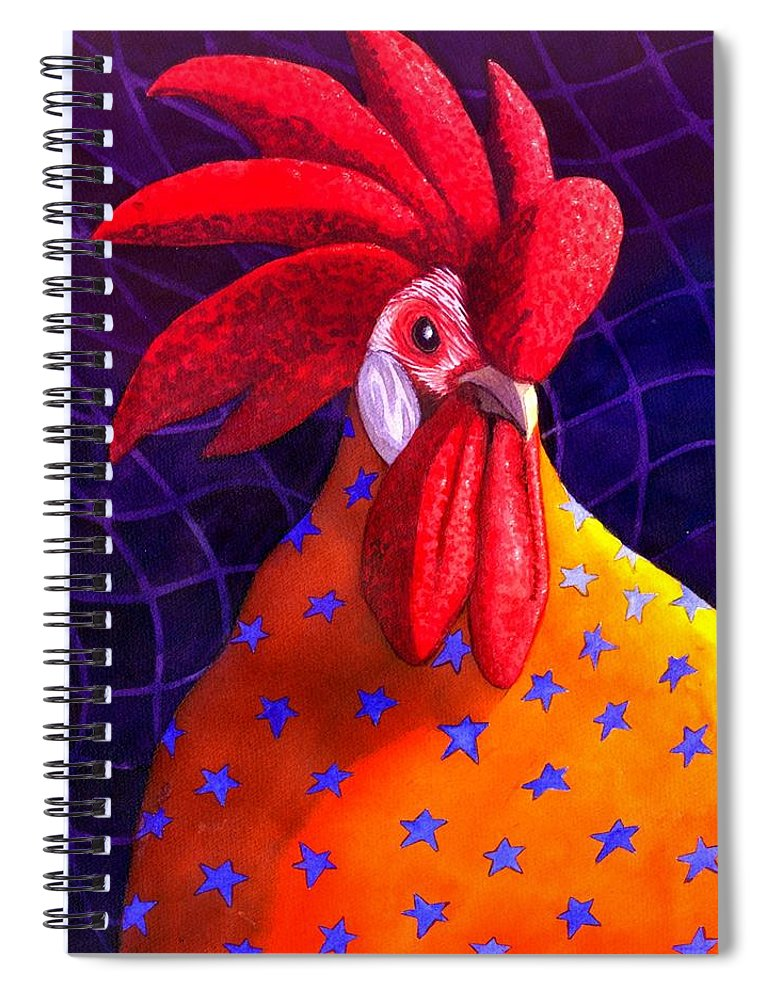 Rooster Spiral Notebook featuring the painting Cock A Doodle Dude by Catherine G McElroy