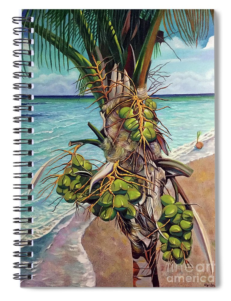Coconuts Spiral Notebook featuring the painting Coconuts on beach by Jose Manuel Abraham