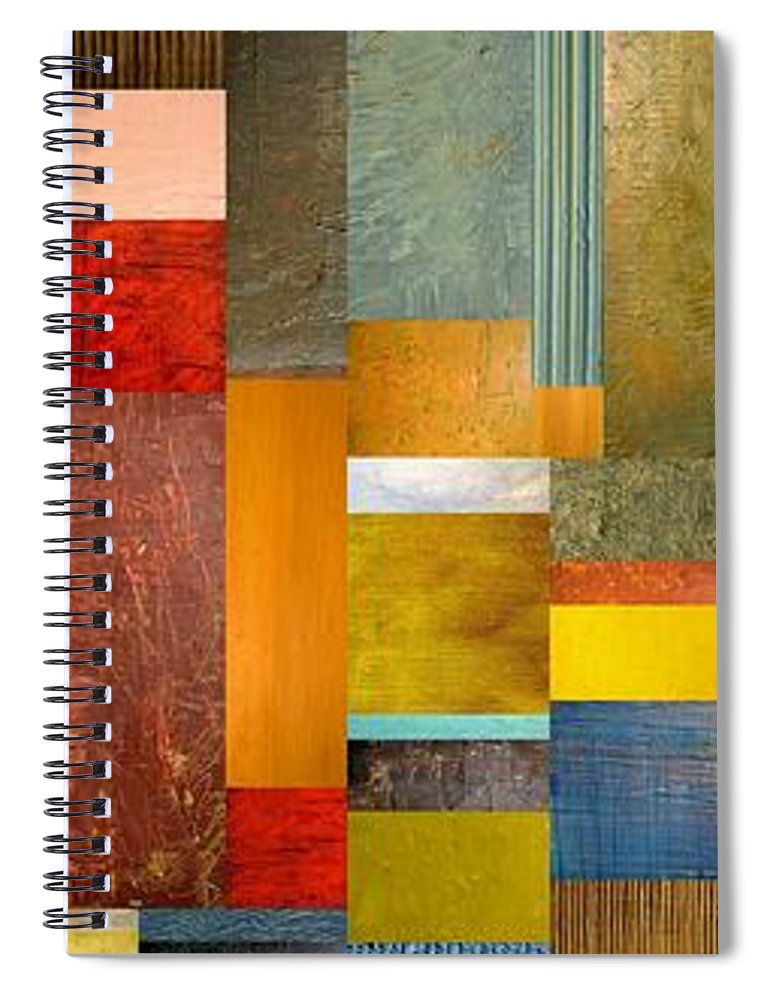 Skinny Spiral Notebook featuring the painting Color Panels With Blue Sky by Michelle Calkins