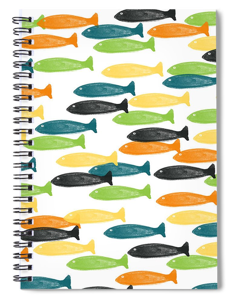 Fish Spiral Notebook featuring the painting Colorful Fish by Linda Woods