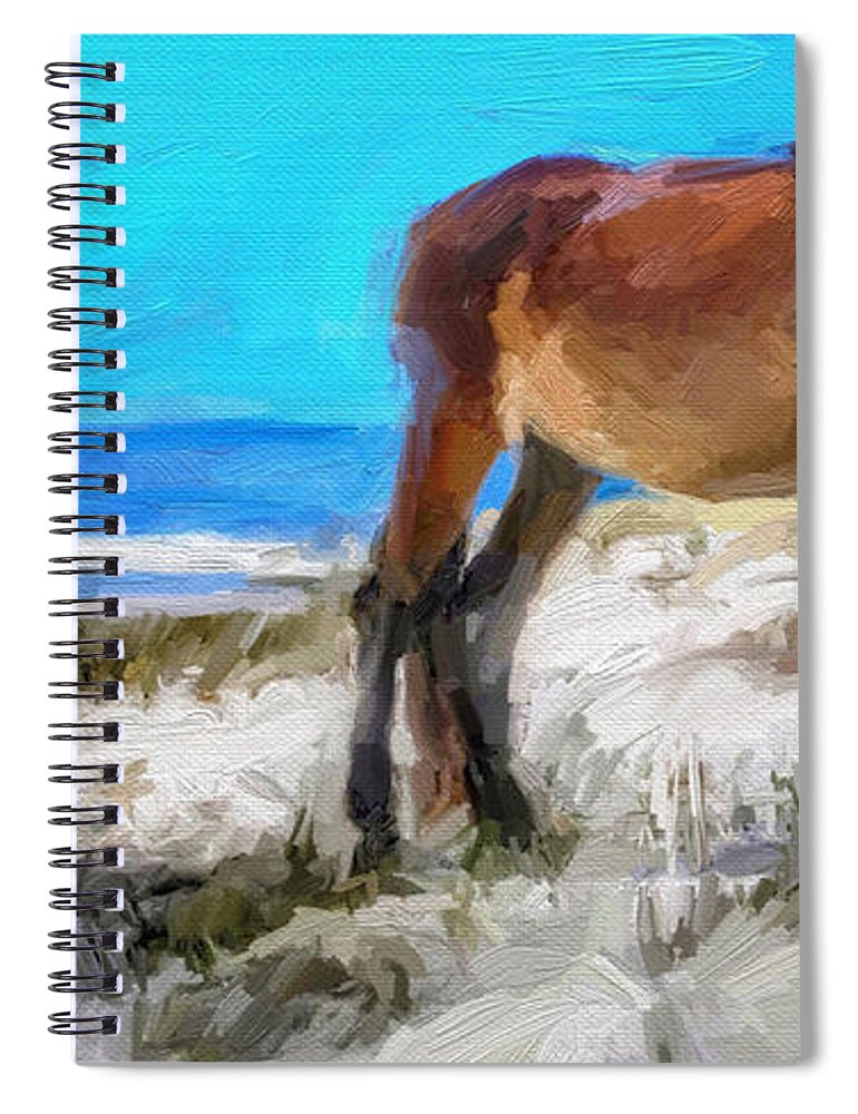 Cumberland Island Pony Horse Spiral Notebook featuring the digital art Cumberland Pony by Scott Waters