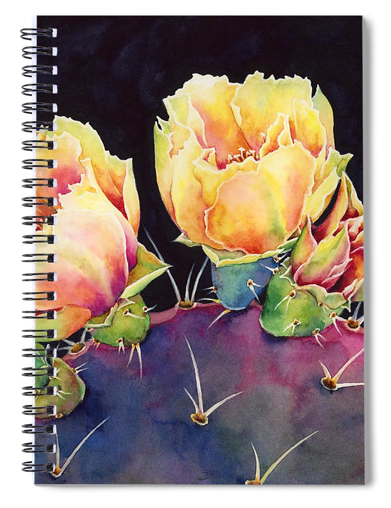 Cactus Spiral Notebook featuring the painting Desert Bloom 2 by Hailey E Herrera