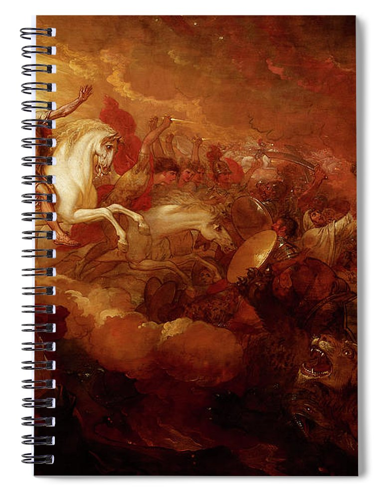 Destruction Spiral Notebook featuring the painting Destruction Of The Beast And The False Prophet by Benjamin West