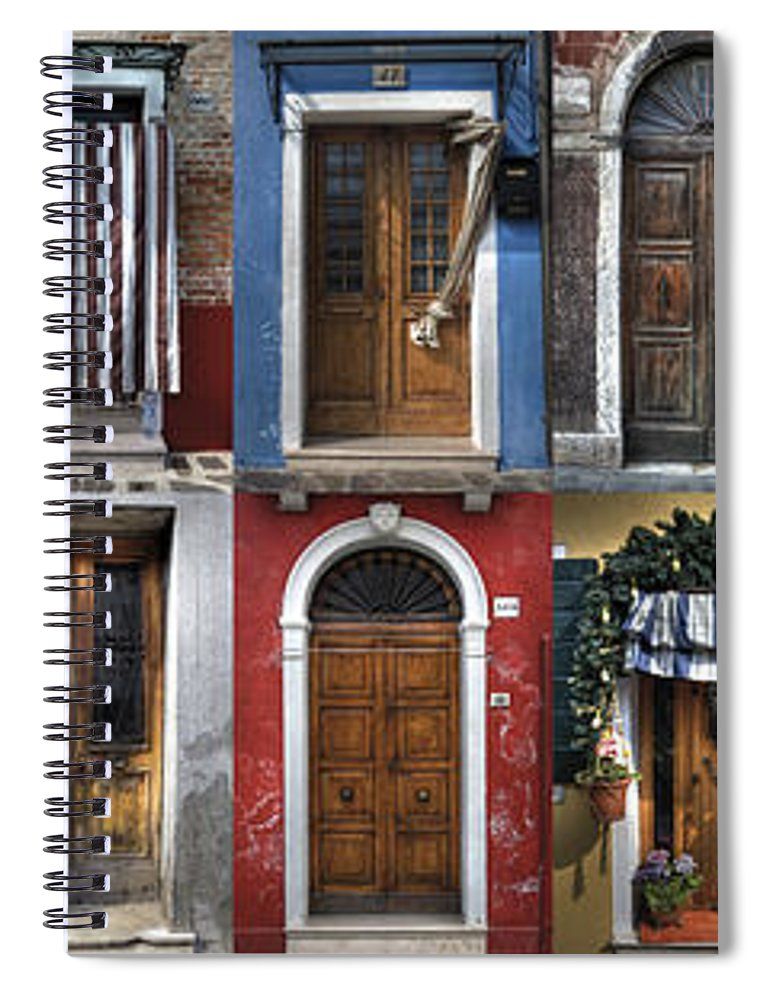 Travel Spiral Notebook featuring the photograph doors and windows of Burano - Venice by Joana Kruse