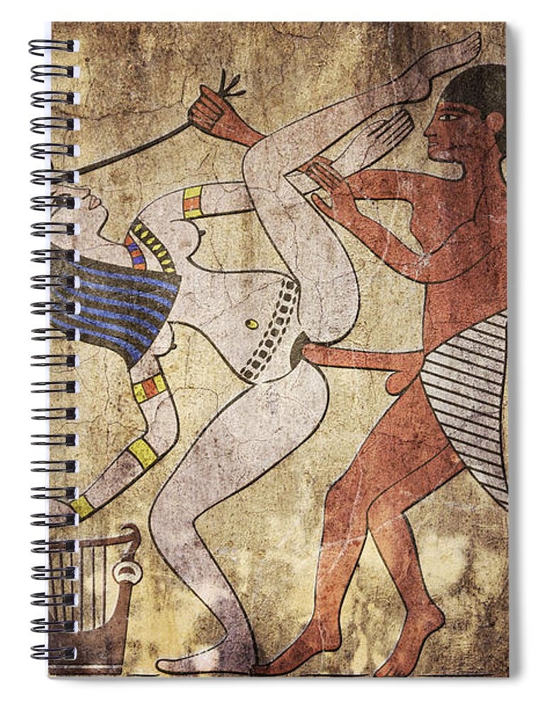 Egypt Spiral Notebook featuring the digital art Erotic Drawing Looks Like Fresco by Michal Boubin