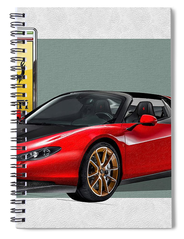 �ferrari� Collection By Serge Averbukh Spiral Notebook featuring the photograph Ferrari Sergio with 3D Badge by Serge Averbukh