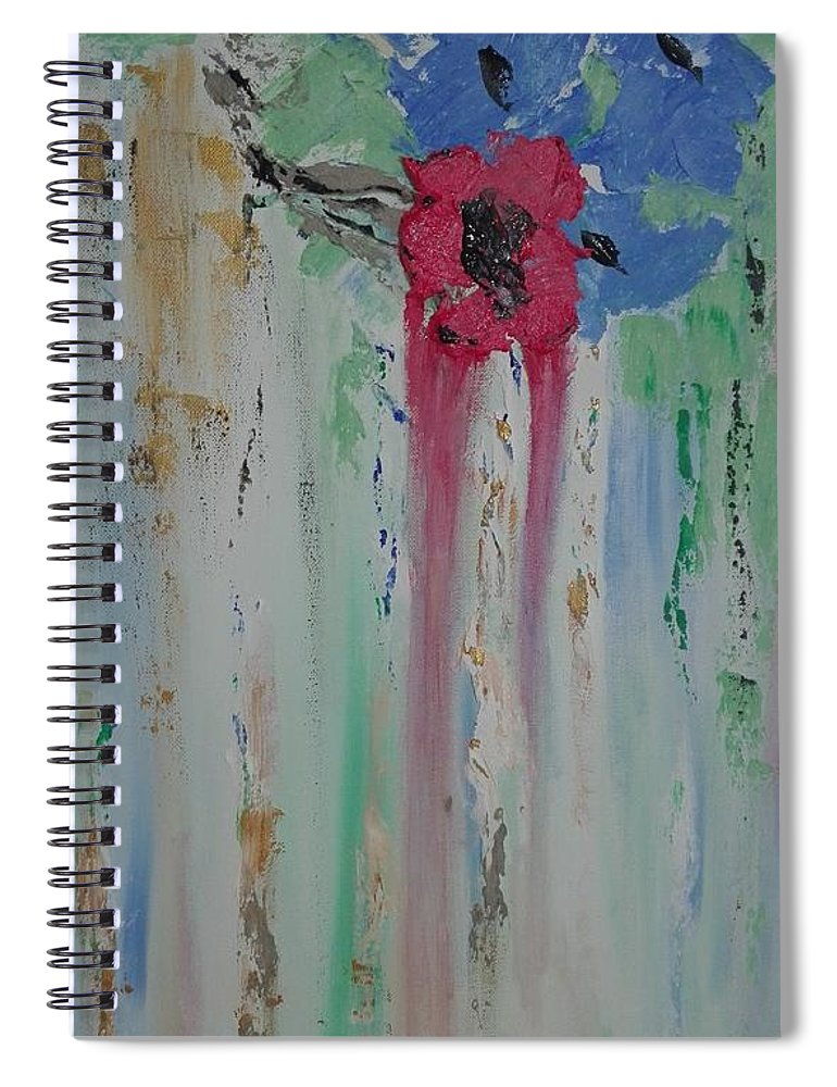 Abstract Spiral Notebook featuring the painting Flori by Clara Tanasie