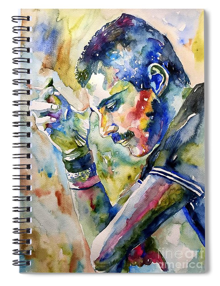 Freddie Spiral Notebook featuring the painting Freddie Mercury watercolor by Suzann Sines