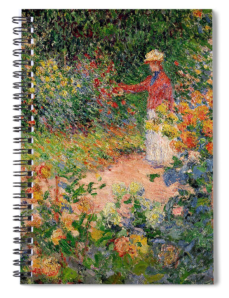 Garden Spiral Notebook featuring the painting Garden At Giverny by Claude Monet