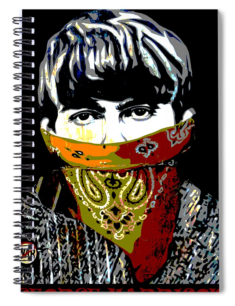 Banksy Spiral Notebook featuring the photograph George Harrison wearing a face mask by RicardMN Photography