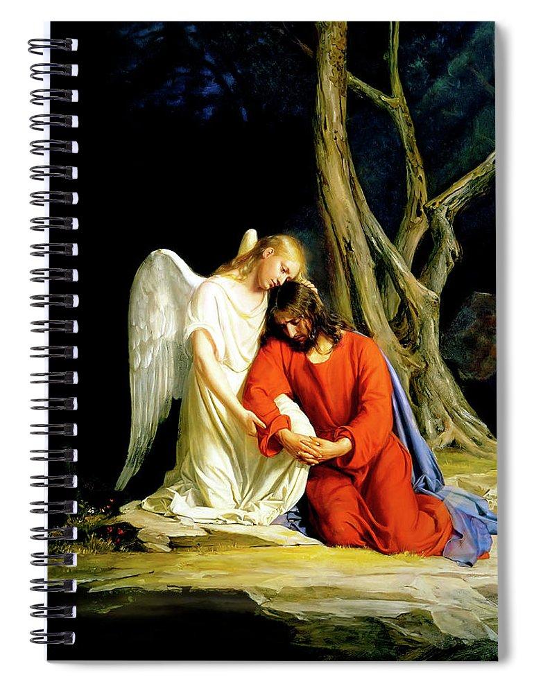 Gethsemane Spiral Notebook featuring the painting Gethsemane by Carl Bloch