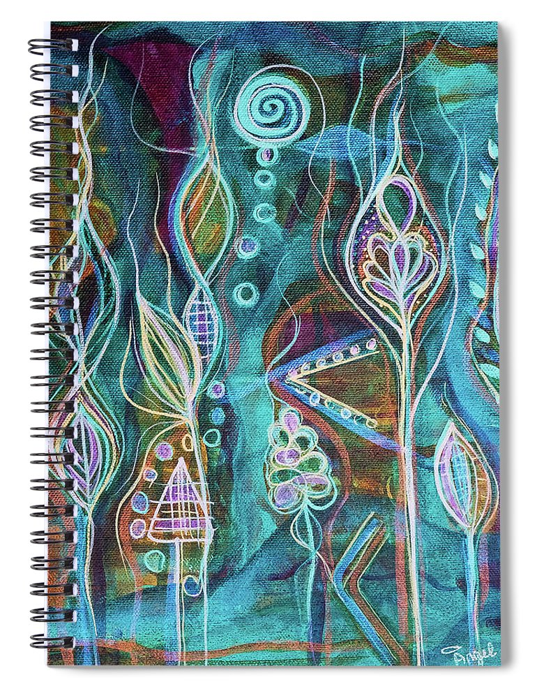 Intuitive Art Spiral Notebook featuring the painting Glow by Angel Fritz