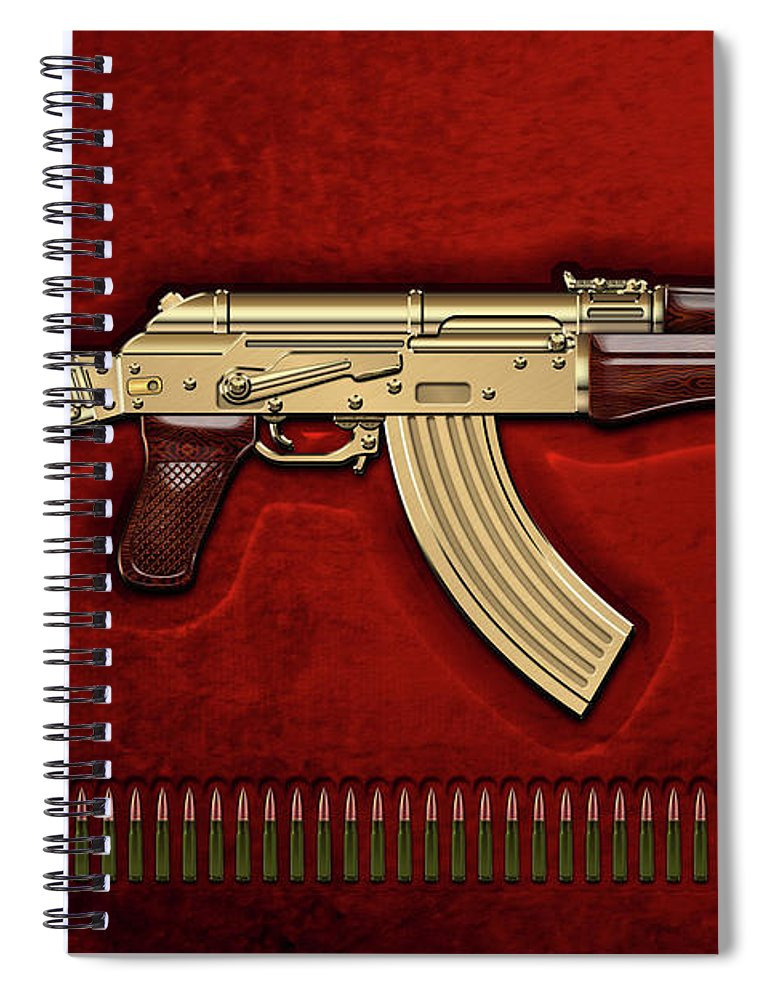 'the Armory' Collection By Serge Averbukh Spiral Notebook featuring the photograph Gold A K S-74 U Assault Rifle With 5.45x39 Rounds Over Red Velvet  by Serge Averbukh