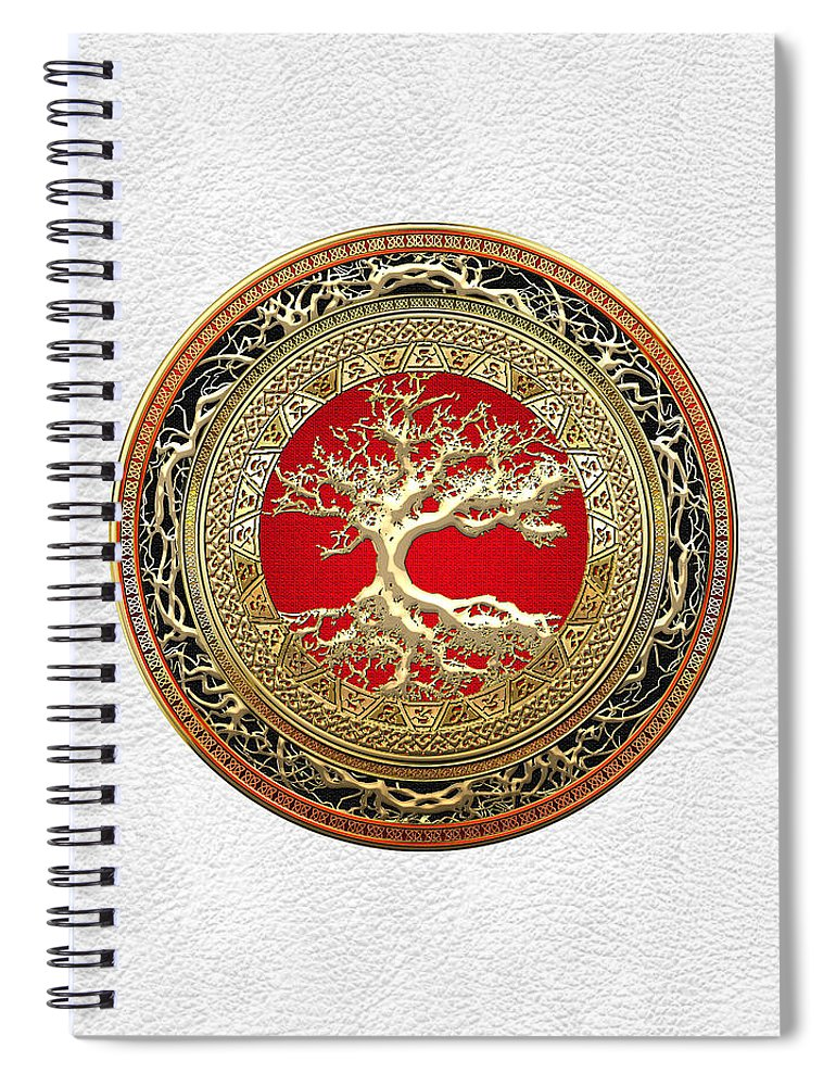 Treasure Trove By By Serge Averbukh Spiral Notebook featuring the photograph Gold Celtic Tree of Life on White Leather by Serge Averbukh
