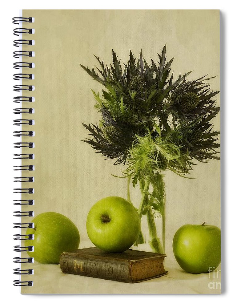 Apples Spiral Notebook featuring the photograph Green Apples And Blue Thistles by Priska Wettstein